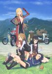 >:) 5girls ;) absurdres arm_up bangs bessho_anri bicycle_basket bikesuit black_hair black_legwear black_shoes black_skirt blonde_hair blue_eyes blue_sky blunt_bangs blush bodysuit box breasts brown_hair cardigan coffee_cup coffee_maker_(object) cup cynthia_b_rogers dirt_road dog full-length_zipper glasses goggles goggles_on_head grass hand_on_hip highres holding holding_animal holding_cup hug hug_from_behind jacket kaburagi_sayo kneehighs kneeling kuroboshi_kouhaku loafers long_hair long_legs long_sleeves looking_at_viewer lying maezono_rie miniskirt motor_vehicle motorcycle mountain multiple_girls neck_ribbon no_bra official_art on_back on_ground one_eye_closed one_off outdoors parted_bangs pleated_skirt puppy railing red_eyes ribbon road salute school_uniform scooter shiozaki_haruno shirt shoes sitting skirt sky smile standing tall track_jacket twintails vehicle vest white_shirt wince yokozuwari zipper
