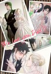 2boys 3girls abs bare_shoulders black_hair blonde_hair blue_hair bouquet bridal_veil camera cigarette crying dress earrings elbow_gloves facial_hair family father_and_daughter flower gloves goatee green_dress green_eyes hair_bun highres jewelry jojo_no_kimyou_na_bouken joseph_joestar_(young) kamonisi kuujou_holly kuujou_sadao lipstick lisa_lisa makeup mechanical_hand multiple_boys multiple_girls necklace necktie open_clothes open_shirt pearl_necklace photo_(object) priest shirt sideburns striped striped_background suzi_quatro tears tuxedo twitter_username veil wedding wedding_dress white_gloves