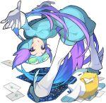 1girl bent_over blue_eyes envelope gloves helmet nagi_(pokemon) pelipper pokemon pokemon_(creature) pokemon_(game) pokemon_oras purple_hair saitou_naoki