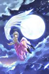 1girl absurdres angel_wings black_boots blue_moon blue_wings boots brown_jacket clouds dress feathers finger_to_mouth floating full_moon glowing glowing_feather glowing_wings grey_wings grin highres horizon kakao_(noise-111) kishin_sagume legs light_trail looking_afar moon night night_sky purple_dress red_eyes short_hair single_wing sky smile solo space star_(sky) starry_sky sunlight thighs touhou wings