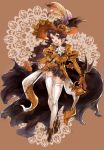>:d 1girl :d ange_d'erlanger bat_wings belt black_skirt blue_eyes brown_hair cape cravat feathers granblue_fantasy halloween hat hat_feather highres iana_(kirinou) jack-o'-lantern long_hair long_sleeves miniskirt open_mouth orange_gloves puffy_long_sleeves puffy_sleeves rapier skirt smile solo sword thigh-highs weapon white_legwear wings zettai_ryouiki
