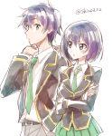 1boy 1girl brother_and_sister joukamachi_no_dandelion necktie purple_hair sakurada_kanade sakurada_shuu school_uniform shinoasa short_hair siblings skirt twins