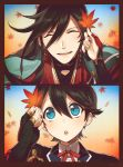 2boys ^_^ autumn_leaves black_hair blue_eyes braid closed_eyes ear_studs earrings horikawa_kunihiro izumi-no-kami_kanesada jewelry leaf male_focus multiple_boys open_mouth ot-nm side_braid smile touken_ranbu