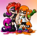 1girl 2girls armor artist_name back-to-back bike_shorts boots domino_mask fingerless_gloves gloves goggles green_sclera ink_tank inkling long_hair looking_at_another looking_back mask multiple_girls octarian octopus orange_eyes orange_hair paint_splatter pointy_ears print_shirt redhead robert_j_case shirt shoes signature smirk sneakers splatoon squid standing super_soaker t-shirt takozonesu tentacle_hair violet_eyes