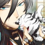 1boy black_hair blue_eyes closed_eyes fang gokotai's_tigers izumi-no-kami_kanesada male_focus open_mouth ot-nm tiger tiger_cub touken_ranbu white_tiger