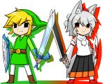 >:< 1boy 1girl animal_ears belt black_eyes blonde_hair boots chibi commentary_request crossed_swords detached_sleeves empty_eyes frown green_hat hat inubashiri_momiji katsumi5o link master_sword pointy_ears pom_pom_(clothes) red_eyes serious shield side-by-side silver_hair skirt sword tail the_legend_of_zelda tokin_hat toon_link touhou tunic turtleneck weapon wolf_ears wolf_tail