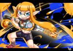 1girl alternate_weapon bike_shorts blue_eyes blush commentary_request domino_mask fangs holding_weapon inkling long_hair looking_at_viewer mask monado open_mouth orange_hair oversized_object paint_splatter paintbrush parody pointy_ears pose shirotake_jinan shirt shoes signature single_vertical_stripe smile solo splatoon standing style_parody tentacle_hair weapon xenoblade