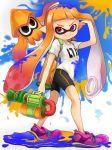1girl bike_shorts domino_mask highres inkling long_hair mask myuu1995 pointy_ears smile solo splatoon squid super_soaker tentacle_hair