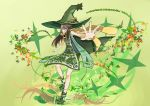 air_renchou brown_hair cacturne foreshortening green_cape green_clothes hat highres one_eye_covered outstretched_hand personification pokemon scarf shoes spiked_shoes spikes witch_hat