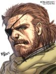 1boy aqua_eyes beard big_boss brown_hair character_name eyepatch facial_hair metal_gear_(series) metal_gear_solid scar solo venom_snake white_background yapo_(croquis_side)