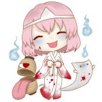 1girl blood blood_on_face blood_on_hands bloody_clothes chibi chouchin_obake floating ghost halloween hitodama ittan_momen long_sleeves lowres pale_color pale_skin pink_hair rinui saigyouji_yuyuko short_hair smile solo tongue tongue_out touhou transparent_background white_kimono wide_sleeves