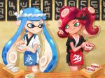 bike_shorts chef_uniform cup domino_mask food green_eyes inkling long_hair mask multiple_girls octarian plate pointy_ears redhead riko_(sorube) sign splatoon sushi takozonesu tea teacup tentacle_hair