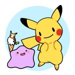 black_eyes blush blush_stickers ditto food ice_cream ice_cream_cone no_humans open_mouth pikachu pokemon pokemon_(creature) simple_background smile transformed_ditto zrae |_|