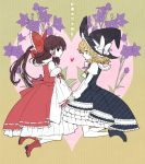 2girls adapted_costume blonde_hair boots bow braid brown_eyes brown_hair detached_sleeves flower full_body hair_bow hair_ornament hair_ribbon hair_tubes hakurei_reimu hat heart holding_hands japanese_clothes kirisame_marisa layered_skirt long_skirt long_sleeves looking_at_viewer miko multiple_girls nr_(cmnrr) orange_eyes ponytail profile puffy_sleeves purple_flower ribbon sash shirt short_hair side_braid single_braid skirt skirt_set smile text touhou unmoving_pattern vest wide_sleeves witch_hat yuri