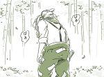 1girl bamboo bamboo_forest forest fujiwara_no_mokou mitsumoto_jouji monochrome nature pants solo suspenders touhou translation_request