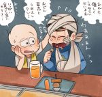2boys arm_sling bald bandaged_head bandages beer_mug black_hair chibita chin_rest crying eating hand_on_another's_head heart heart_in_mouth karamatsu multiple_boys nyu oden osomatsu-kun osomatsu-san sitting towel translation_request