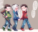 3boys arm_sling bandaged_arm bandaged_head bandages black_hair blush brothers brown_hair choromatsu closed_eyes crutch crying grey_background hands_in_pockets hoodie jikuno karamatsu male_focus multiple_boys osomatsu-kun osomatsu-san osomatsu_(osomatsu-kun) shirt_tug siblings simple_background smile translation_request walking