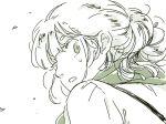 1girl fujiwara_no_mokou looking_back mitsumoto_jouji monochrome solo suspenders touhou