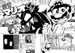 1girl 4boys ^_^ admiral_(kantai_collection) admiral_(kantai_collection)_(cosplay) blank_eyes bowser brothers clenched_hands closed_eyes comic computer crossover facial_hair gloves hat kantai_collection luigi mario mario_(series) monitor monochrome monster multiple_boys mustache official_style outstretched_arms parody rariatto_(ganguri) ryuujou_(kantai_collection) sawada_yukio_(style) sharp_teeth shocked_eyes siblings silhouette skirt speech_bubble style_parody super_mario-kun super_mario_bros. surprised translation_request visor_cap yoshi