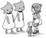 0_0 1girl azuma_kiyohiko bag capelet commentary dress duralumin koiwai_yotsuba monochrome quad_tails raglan_sleeves shorts shoulder_bag stuffed_animal stuffed_toy teddy_bear white_background yotsubato! |_|