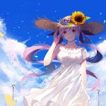 1girl :d absurdres bangs blue_flower blue_sky blush breasts brown_headwear clouds cloudy_sky collarbone commentary day dress eyebrows_visible_through_hair flower hand_up hat hat_flower highres hololive long_hair looking_at_viewer medium_breasts minato_aqua open_mouth orange_flower outdoors petals purple_hair re:rin short_sleeves sky smile solo straw_hat sunflower twintails very_long_hair violet_eyes virtual_youtuber white_dress wind_turbine windmill