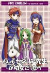 1boy 2girls :d armor black_legwear blue_eyes blue_hair boots cape capelet cecilia_(fire_emblem) closed_eyes copyright_name elbow_gloves fire_emblem fire_emblem:_fuuin_no_tsurugi gloves green_eyes green_hair hat headband horse lilina long_hair multiple_girls open_mouth pantyhose redhead roy_(fire_emblem) smile tenmaru