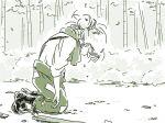 1girl axe bamboo bamboo_forest boots forest fujiwara_no_mokou kneeling mitsumoto_jouji monochrome nature pants solo suspenders touhou weapon