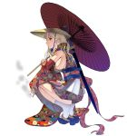 1girl blonde_hair blue_eyes breasts cigarette commentary_request full_body hat highres japanese_clothes katana kimono large_breasts legs_together long_hair masao no_bra oriental_umbrella original rice_hat sandals scabbard scar sheath sheathed sideboob smoking socks solo squatting sword tiptoes umbrella weapon weapon_on_back white_background