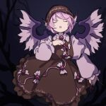 1girl animal_ears bird_wings brown_dress brown_headwear closed_eyes commentary_request cowboy_shot dress grey_background hand_up highres kaigen_1025 long_sleeves music mystia_lorelei open_mouth pink_hair puffy_sleeves red_nails short_hair singing touhou very_long_fingernails wings