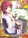 1girl angel_beats! cup desk iwasawa labcoat mug paper pen red_eyes redhead remotaro short_hair sitting stethoscope wristband