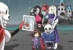 2girls 3boys androgynous big_cat_shan black_hair brown_hair castle eyepatch frisk_(undertale) grin head_fins heart horns mettaton mettaton-ex monster_girl multiple_boys multiple_girls papyrus_(undertale) parody ponytail sans self_shot smile tablet_pc taking_picture toriel undertale undyne v you're_doing_it_wrong