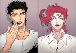 2boys black_hair jojo_no_kimyou_na_bouken kakyouin_noriaki kuujou_joutarou lipstick lipstick_mark makeup multiple_boys redhead smeared_lipstick yaksa444