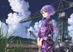 1girl alternate_costume bag bangs blue_eyes building car clouds condensation_trail crane crescent crescent_hair_ornament eyebrows floral_print grass hair_ornament highres holding_bag hook japanese_clothes kantai_collection kimono kinchaku kosai_takayuki long_sleeves motor_vehicle no_hat obi outdoors parted_lips print_kimono purple_hair sash short_hair short_hair_with_long_locks sidelocks sky solo swept_bangs vehicle yayoi_(kantai_collection)