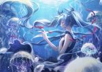 1girl air_bubble bangs black_dress blue blue_eyes blue_hair blurry colored_eyelashes depth_of_field dress fish floating_hair from_side hair_ribbon hand_on_own_chest hatsune_miku jellyfish light_rays long_hair minland4099 ocean profile reaching ribbon shinkai_shoujo_(vocaloid) sleeveless sleeveless_dress submerged tears twintails underwater vocaloid