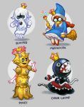 4girls ballooncar black_eyes blooper bow chain_chomp chains character_name collar dress flower gem glasses grey_background highres looking_at_viewer magikoopa mario_(series) multiple_girls new_super_mario_bros._u_deluxe nintendo opaque_glasses pokey_(mario) princess_chain_chomp redhead round_eyewear simple_background spiked_collar spikes super_crown yellow_skin