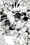 beanie beer_can bench bird book chef_hat chicken_(food) cleaver cowboy_hat dove facial_hair food garou_(onepunch_man) glasses goggles goggles_on_head golden_ball hat hook_hand laurel_crown manga_(object) monochrome murata_yuusuke mustache namen_rider onepunch_man spyglass stinger_(onepunch_man) sunglasses top_hat toque_blanche wand