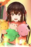 1girl :d black_hair brown_eyes casual cat dog giraffe k-on! kanau long_hair nakano_azusa open_mouth pig smile solo stuffed_animal stuffed_toy twintails