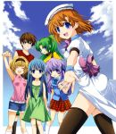 1boy 5girls bangs black_legwear blonde_hair blue_eyes blue_hair blunt_bangs blush bow closed_eyes clouds dress furude_rika green_hair hanyuu happy headband higurashi_no_naku_koro_ni hime_cut horns houjou_satoko long_hair looking_at_viewer lowres maebara_keiichi multiple_girls official_art open_mouth ponytail purple_hair ryuuguu_rena school_uniform short_hair skirt sky smile sonozaki_mion suzuragi_karin thigh-highs violet_eyes