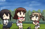 3girls brown_eyes brown_hair dated double_bun hamu_koutarou hayasui_(kantai_collection) kantai_collection michishio_(kantai_collection) multiple_girls ooi_(kantai_collection) rugby rugby_ball rugby_uniform skirt sportswear