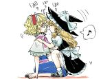 2girls alice_margatroid black_dress blonde_hair bloomers blue_dress bow capelet closed_eyes dress hairband hands_on_another's_shoulders hat hat_bow kirisame_marisa komaku_juushoku lolita_hairband mary_janes multiple_girls musical_note pocky pocky_day pocky_kiss puffy_short_sleeves puffy_sleeves sash shared_food shoes short_sleeves sitting spoken_musical_note squatting touhou underwear wariza witch_hat yuri