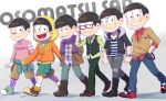 6+boys :> :d adjusting_glasses ahoge alternate_costume argyle argyle_sweater_vest black_hair blush boots brothers buttons cargo_pants casual choromatsu clenched_hand clothes_around_waist copyright_name denim fur_collar glasses half-closed_eyes hand_in_pocket hands_in_pockets hoodie ichimatsu jacket jeans jewelry jyushimatsu karamatsu looking_at_viewer male_focus messy_hair multiple_boys necklace necktie one_eye_closed open_mouth osomatsu-kun osomatsu-san osomatsu_(osomatsu-kun) outstretched_hand pants plaid plaid_pants pocket riko_(sorube) scarf sextuplets shirt shoes shorts siblings sleeves_past_wrists smile socks striped striped_shirt sweater sweater_around_waist sweater_vest todomatsu torn_clothes torn_jeans v-neck vest walking watch watch
