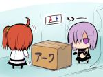 2girls ahoge bare_shoulders bathroom box chibi detached_sleeves expressionless fate/grand_order fate_(series) female_protagonist_(fate/grand_order) long_sleeves looking_at_another miniskirt multiple_girls navel restroom sen_(astronomy) shielder_(fate/grand_order) short_hair side_ponytail sign skirt translation_request