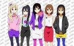 5girls akiyama_mio black_hair brown_eyes brown_hair highres hirasawa_yui k-on! kotobuki_tsumugi long_hair multiple_girls nakano_azusa no_thank_you! pantyhose short_hair smile tainaka_ritsu