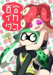 2girls ? agent_3 arms_around_neck artist_name bike_shorts blush closed_eyes commentary_request domino_mask eromame eyebrows eyeliner fingerless_gloves gloves green_eyes green_hair headphones hug hug_from_behind inkling long_hair makeup mask midriff multiple_girls redhead splatoon spoken_question_mark tentacle_hair thick_eyebrows translation_request yuri