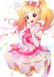 1girl :d absurdres aikatsu!_(series) aikatsu_stars! beamed_eighth_notes blonde_hair blue_bow blush bow bow_earrings brown_eyes confetti cowboy_shot dress earrings eighth_note elbow_gloves english_text eyebrows_visible_through_hair floral_print followers frilled_dress frills gem gloves gradient_hair hair_bow hairband heart heart_earrings highres idol jewelry multicolored_hair musical_note nijino_yume ok_sign open_mouth pearl_(gemstone) pearl_hair_ornament pink_bow pink_dress pink_gloves pink_hair simple_background sleeveless sleeveless_dress smile solo star supersaiazin-kanako thank_you treble_clef twintails white_background