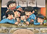 6+boys black_hair bottle bowl_cut brothers chibita chikuwa choromatsu drooling eating food formal heart heart_in_mouth ichimatsu jyushimatsu karamatsu lantern male_focus multiple_boys necktie necktie_on_head oden osomatsu-kun osomatsu-san osomatsu_(osomatsu-kun) paper_lantern plate sextuplets siblings sitting suit sweatdrop todomatsu
