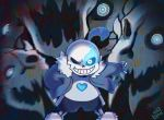 1boy animated animated_gif artist_name glowing glowing_eye grin hand_in_pocket heart kibstar outstretched_arm sans shorts skeleton slippers smile spoilers tagme undertale