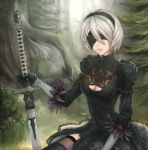1girl bangs blindfold blonde_hair dress gloves grass green_dress green_legwear hair_between_eyes hairband highres holding_sword holding_weapon juliet_sleeves lips long_sleeves mole mole_under_mouth nature nier nier_automata outdoors planted_sword planted_weapon puffy_sleeves revision short_hair silver_hair sitting solo sword thigh-highs tree tree_stump unsomnus weapon yorha_unit_no._2_type_b