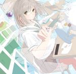 1girl aspara bangs blonde_hair book box bread chair clock closed_mouth desk dissolving drawing dutch_angle floating food gift gift_box glasses green_eyes holding inkblot levitation looking_at_viewer open_book original paper pince-nez pleated_skirt rimless_glasses school_desk school_uniform serafuku short_hair short_sleeves sitting sitting_on_chair skirt snow_globe snowman solo swept_bangs time transparent