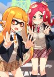 2girls :d artist_request bangs blazer blush fang green_eyes hair_ornament hairclip hirasato inkling looking_at_viewer multiple_girls necktie octarian open_mouth orange_eyes orange_hair pleated_skirt pointy_ears redhead school_uniform skirt smile splatoon sweatdrop takozonesu tentacle_hair